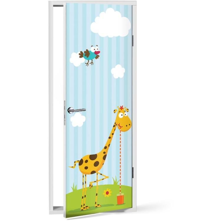 Αυτοκόλλητο Πόρτας Αστεία καμηλοπάρδαλη