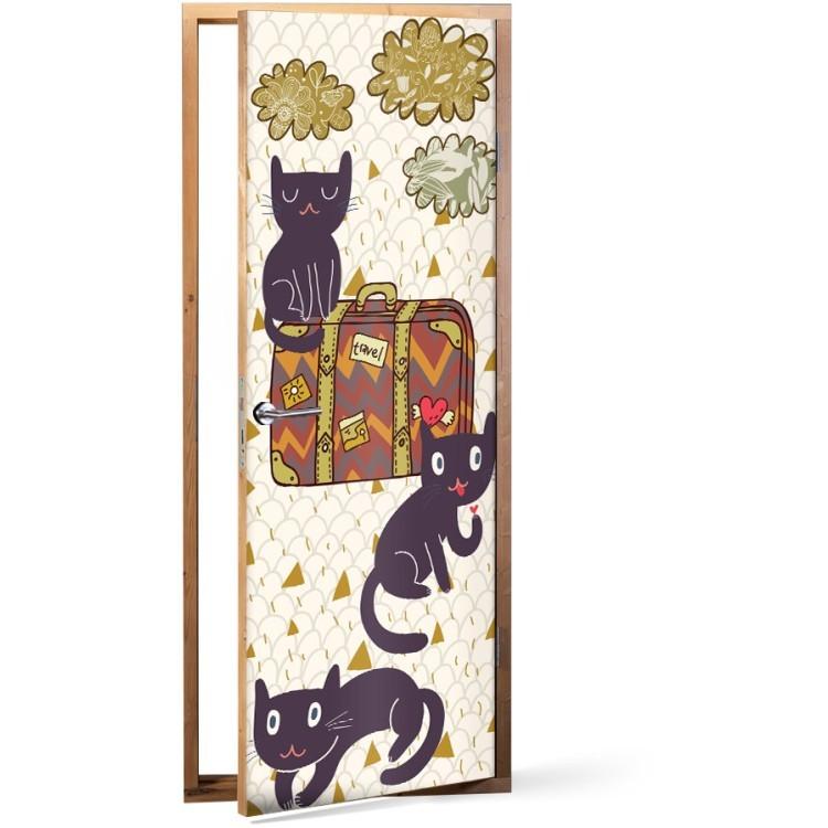 Αυτοκόλλητο Πόρτας Ταξιδιάρικες γάτες