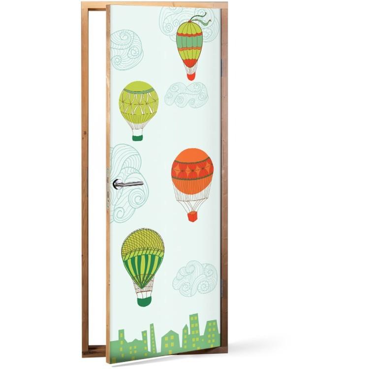 Αυτοκόλλητο Πόρτας Παιδικά Αερόστατα