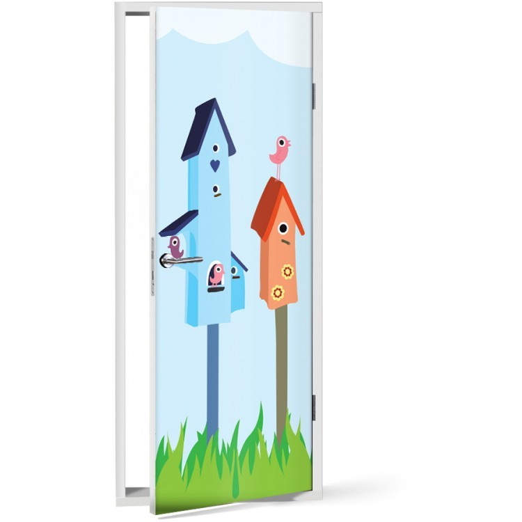 Αυτοκόλλητο Πόρτας Χαριτωμένα πουλάκια