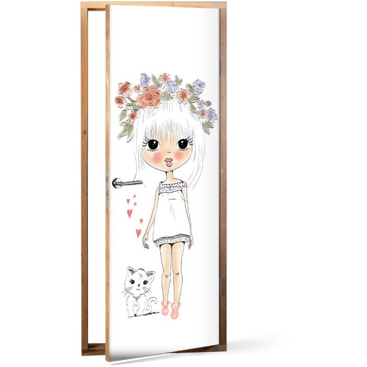 Αυτοκόλλητο Πόρτας Xαριτωμένο Κοριτσάκι