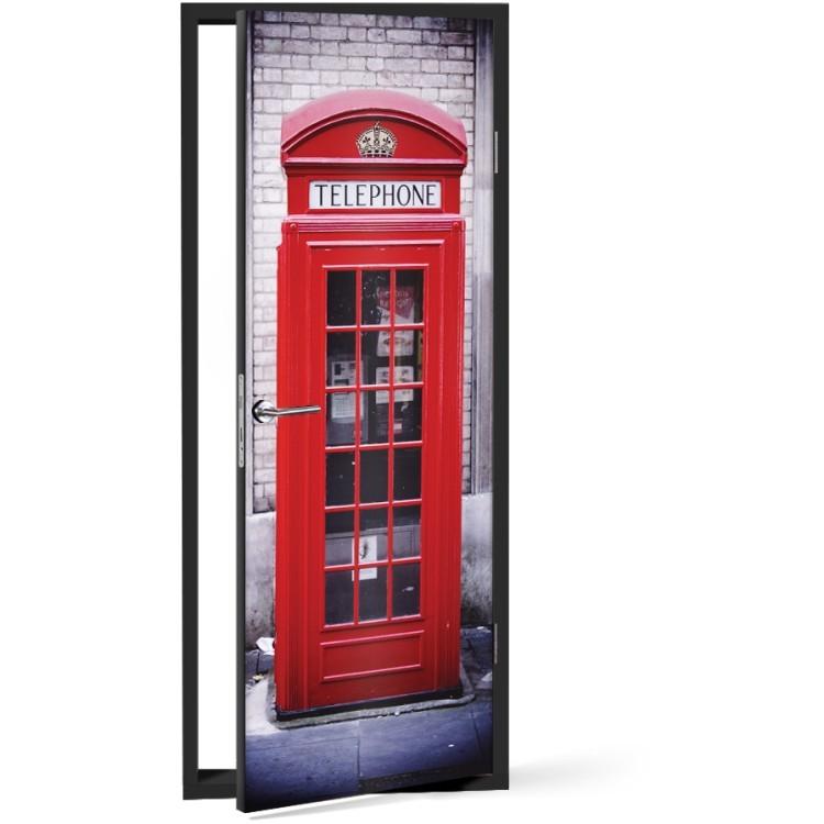 Αυτοκόλλητο Πόρτας Red phonebooth
