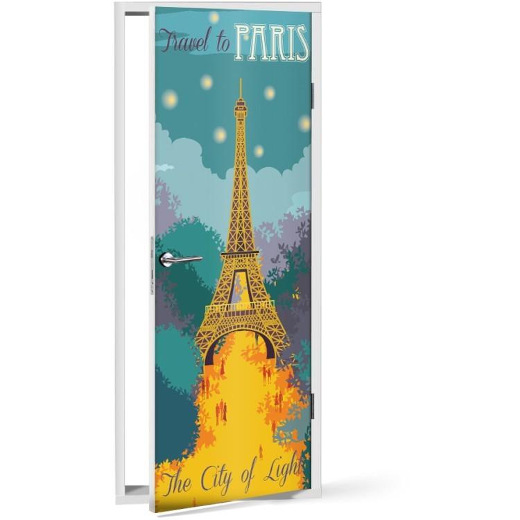 Αυτοκόλλητο Πόρτας Travel to Paris