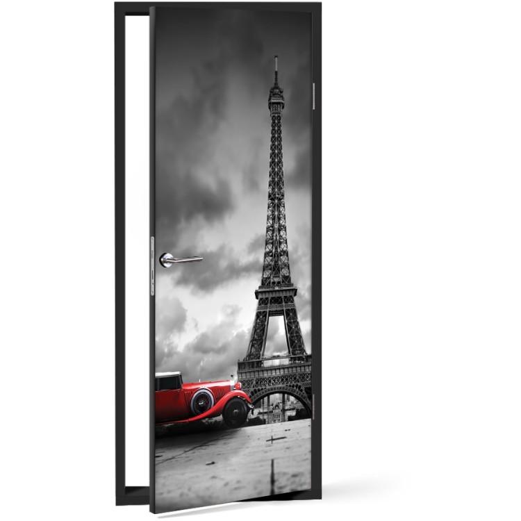 Αυτοκόλλητο Πόρτας Kόκκινο αυτοκίνητο, Πύργος του Άιφελ