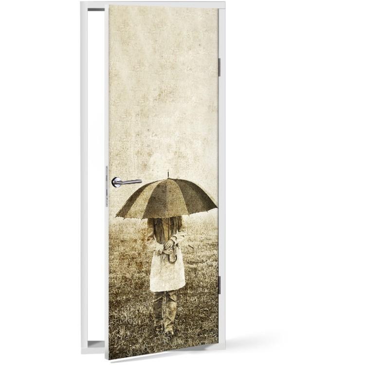 Αυτοκόλλητο Πόρτας Κορίτσι με ομπρέλα