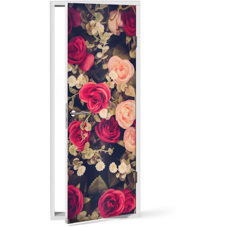 Αυτοκόλλητο Πόρτας Τριαντάφυλλα μπουκέτο