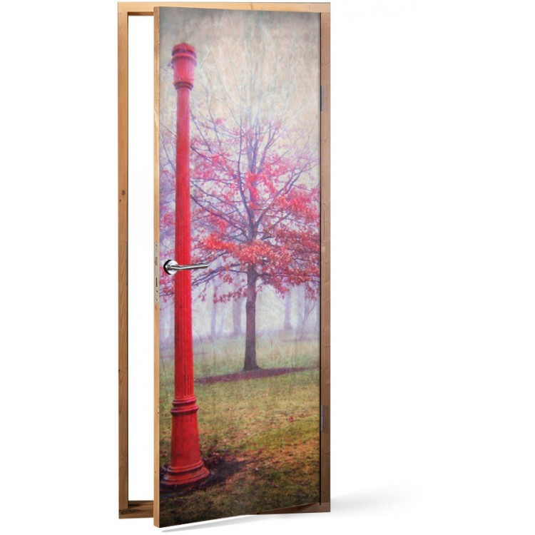 Αυτοκόλλητο Πόρτας Kόκκινη φύση