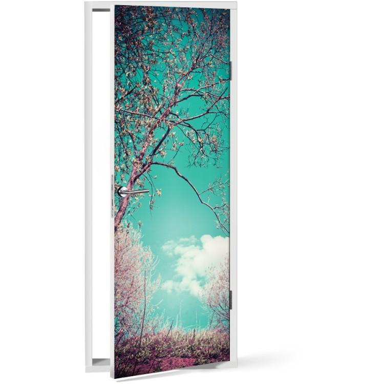 Αυτοκόλλητο Πόρτας Φόντο Δέντρο