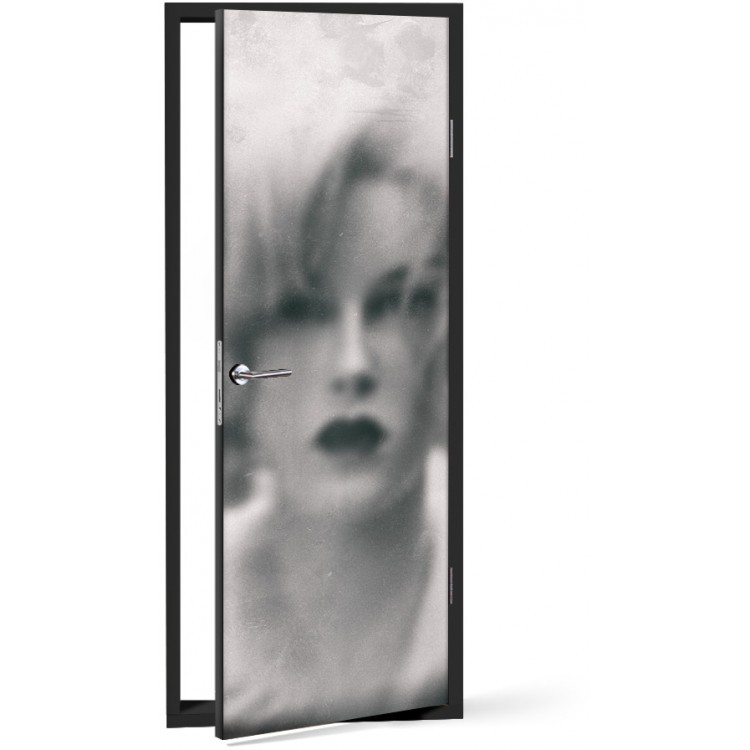 Αυτοκόλλητο Πόρτας Θολό πορτρέτο γυναίκας