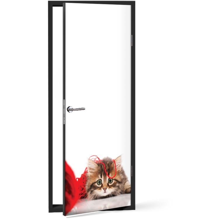 Αυτοκόλλητο Πόρτας Γατούλα με κόκκινη κλωστή
