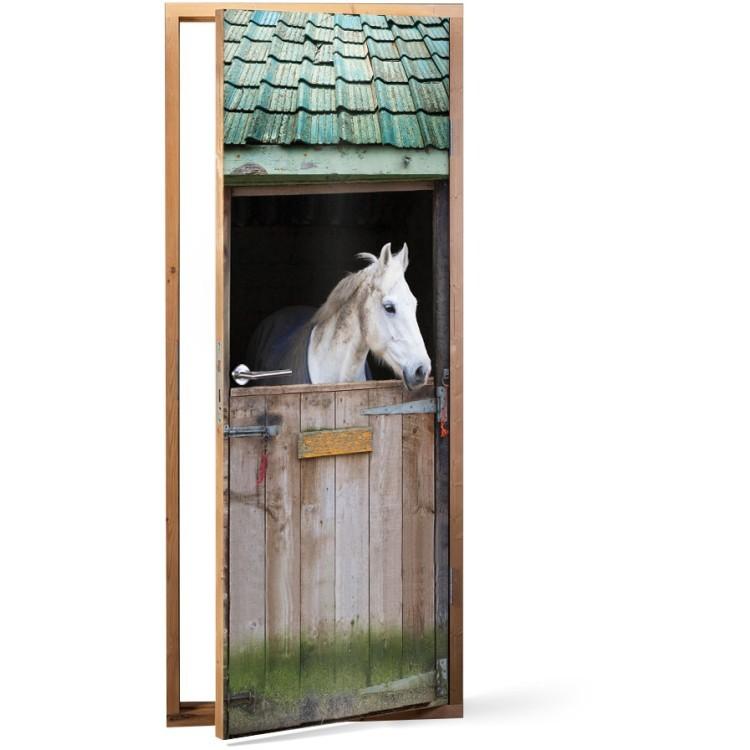 Αυτοκόλλητο Πόρτας Άλογο σε ένα στάβλο