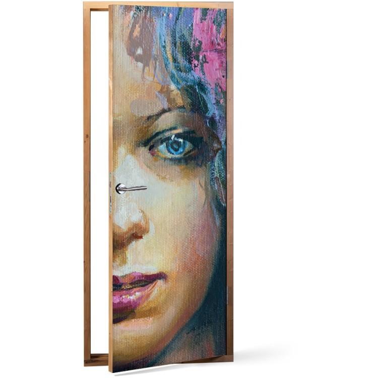 Αυτοκόλλητο Πόρτας Half face portrait