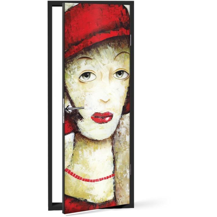 Αυτοκόλλητο Πόρτας Κυρία με κόκκινο καπέλο