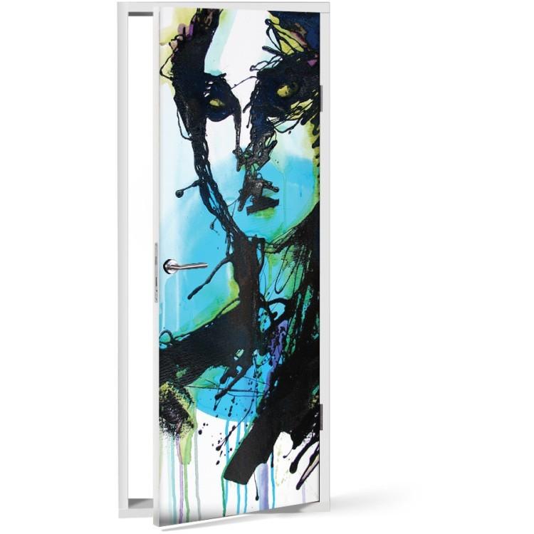 Αυτοκόλλητο Πόρτας Αφηρημένη τέχνη γυναίκα πορτραίτο