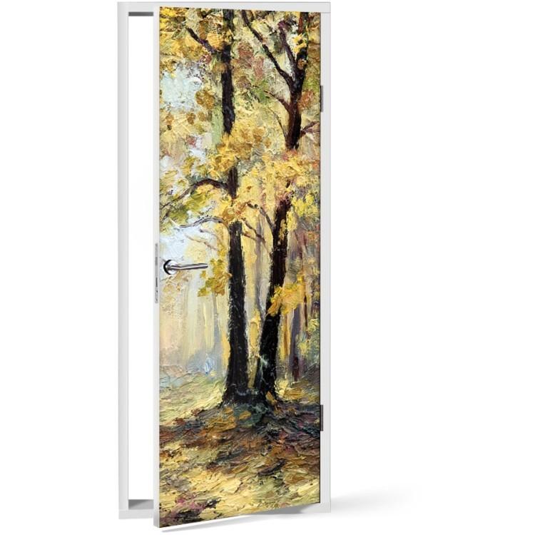 Αυτοκόλλητο Πόρτας Δέντρο ελαιογραφία