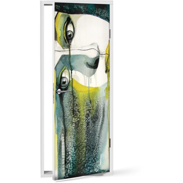 Αυτοκόλλητο Πόρτας Πορτρέτο γυναίκας