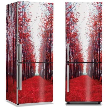 Κόκκινα φύλλα δέντρων στο δρόμο