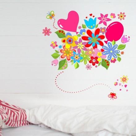 Πολύχρωμα λουλούδια με μπαλόνια