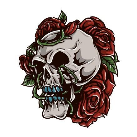 Νεκροκεφαλή με λουλούδια