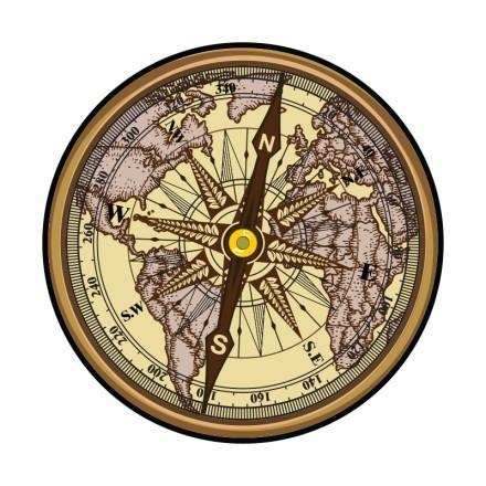 Ναυτικός χάρτης σε πυξίδα