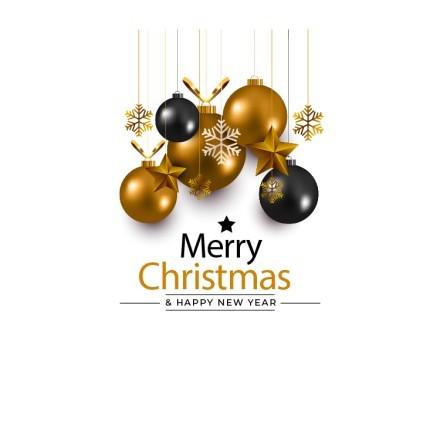 Merry Christmas - Black & Gold