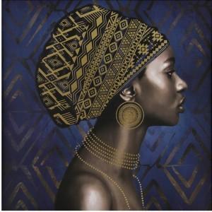 AFRICAN LADY ΠΙΝΑΚΑΣ ΜΠΛΕ/ΧΡΥΣΟ 80x80cm, ΠΙΝΑΚΕΣ, Maison