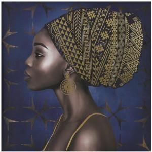 AFRICAN WOMAN ΠΙΝΑΚΑΣ ΜΠΛΕ/ΧΡΥΣΟ 80x80cm, ΠΙΝΑΚΕΣ, Maison