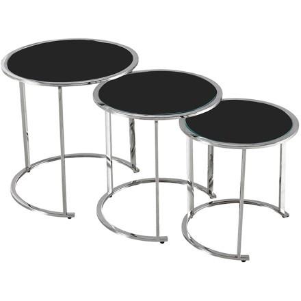BELLAGIO COFFEE TABLE SET 3ΤΕΜ ΑΣΗΜΙ ΜΑΥΡΟ D50/45/40xH50/45/40cm