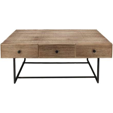 BOHO COFFEE TABLE ΦΥΣΙΚΟ ΜΑΥΡΟ 120x59,5xH45cm