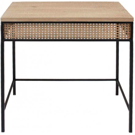 CANNE SIDE TABLE ΦΥΣΙΚΟ ΜΑΥΡΟ 53x32xH49cm