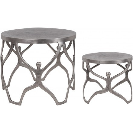 COSMOS SIDE TABLE SET 2ΤΕΜ ΑΣΗΜΙ ANTIQUE D58-46xH49-40cm