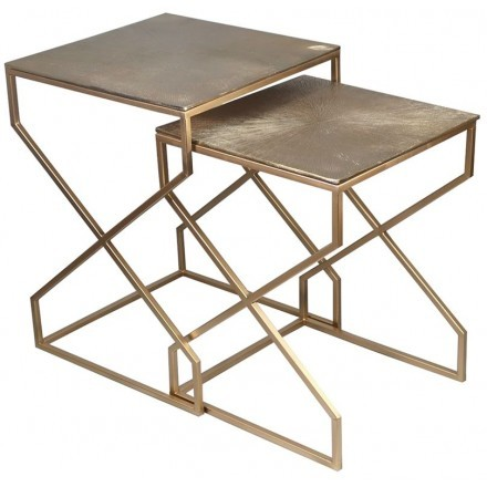 CROSS SIDE TABLE SET 2ΤΕΜ ΧΡΥΣΟ 40-36x40-36xH53-47cm