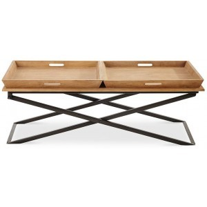 DOUBLE SERV COFFEE TABLE WHITE WASHED ΜΑΥΡΟ 120x60xH43cm, COFFEE TABLES, Maison