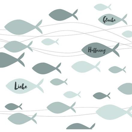 FISHES ΧΑΡΤΟΠΕΤΣΕΤΑ ΛΕΥΚΗ/ΜΕΝΤΑ 33x33cm