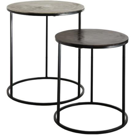 FLAT 3 SIDE TABLE SET 2ΤΕΜ ΑΣΗΜΙ ΜΑΥΡΟ D48,5-40xH56-46cm