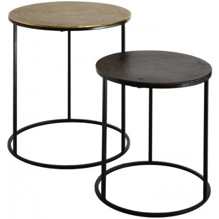 FLAT 3 SIDE TABLE SET 2ΤΕΜ ΧΡΥΣΟ ΜΑΥΡΟ D48,5-40xH56-46cm