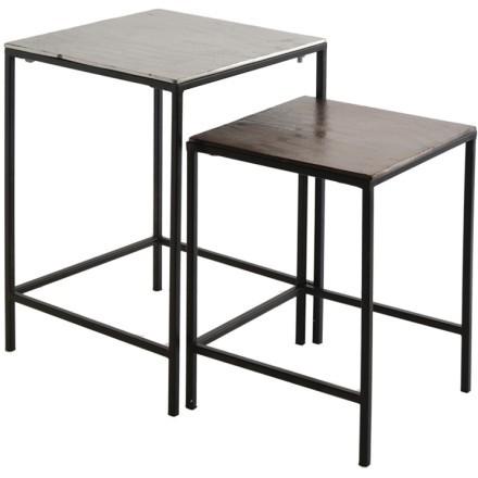 FLAT SIDE TABLE SET 2ΤΕΜ ΑΣΗΜΙ ΜΑΥΡΟ 35,5-30x35,5-30xH50,8-41,5cm