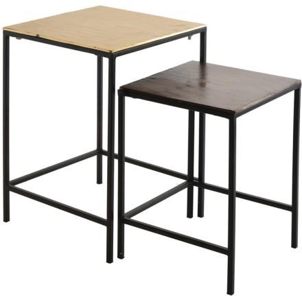 FLAT SIDE TABLE SET 2ΤΕΜ ΧΡΥΣΟ ΜΑΥΡΟ 35,5-30x35,5-30xH50,8-41,5cm