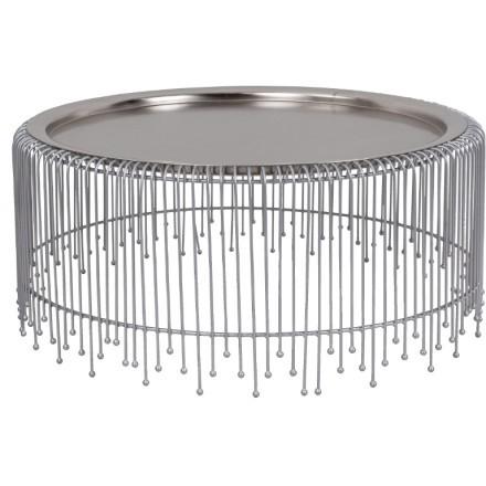 GALA COFFEE TABLE NICKEL ΜΑΤ D77xH33cm