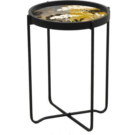 GOLD BIRD SIDE TABLE ΠΟΛΥΧΡΩΜΟ ΜΕ PATTERN ΜΑΥΡΟ D40xH57,5cm