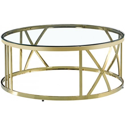GOLDEA COFFEE TABLE ΧΡΥΣΟ ΔΙΑΦΑΝΟ D100xH43cm