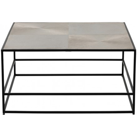 HADSTON COFFEE TABLE ΑΣΗΜΙ ΜΑΥΡΟ 80x80xH40cm