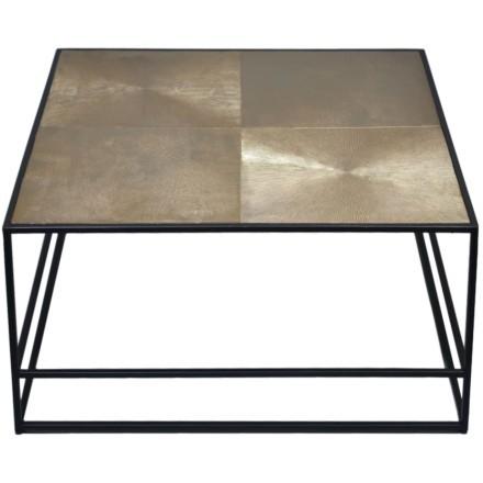 HADSTON COFFEE TABLE ΧΡΥΣΟ ΜΑΥΡΟ 80x80xH40cm