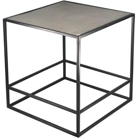 HADSTON SIDE TABLE ΑΣΗΜΙ ΜΑΥΡΟ 46x46xH50cm