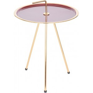 INDEX SIDE TABLE ΧΡΥΣΟ/ΚΟΚΚΙΝΟ Δ42xΥ57,5cm, COFFEE TABLES, Maison