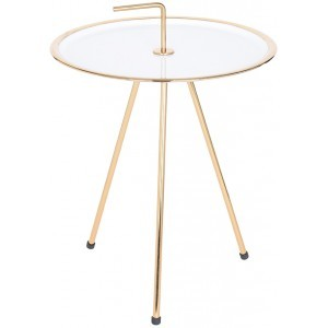 INDEX SIDE TABLE ΧΡΥΣΟ/ΛΕΥΚΟ Δ42xΥ57,5cm, COFFEE TABLES, Maison