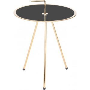 INDEX SIDE TABLE ΧΡΥΣΟ/ΜΑΥΡΟ Δ42xΥ57,5cm, COFFEE TABLES, Maison