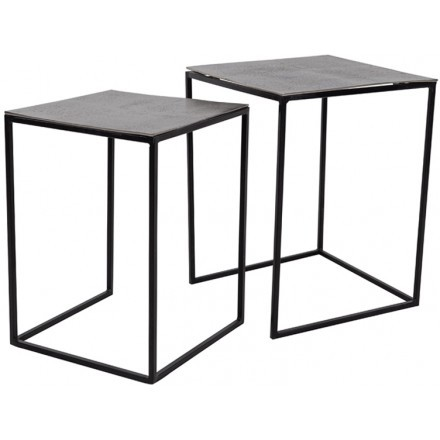KARRE SIDE TABLE SET 2ΤΕΜ NICKEL ANTIQUE ΜΑΥΡΟ 40-35x40-35xH52-48cm