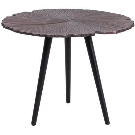 LEAF 40 SIDE TABLE COPPER ANTIQUE ΜΑΥΡΟ D40xH32cm