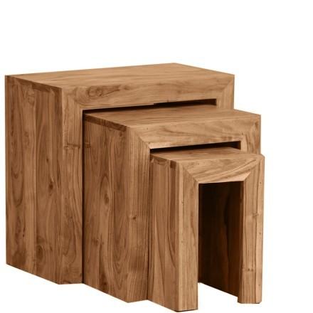 MINIMAL 45-35-25 SIDE TABLE SET 3ΤΕΜ ΚΑΡΥΔΙ 45-35-25x30-28-25xH45-37-30cm